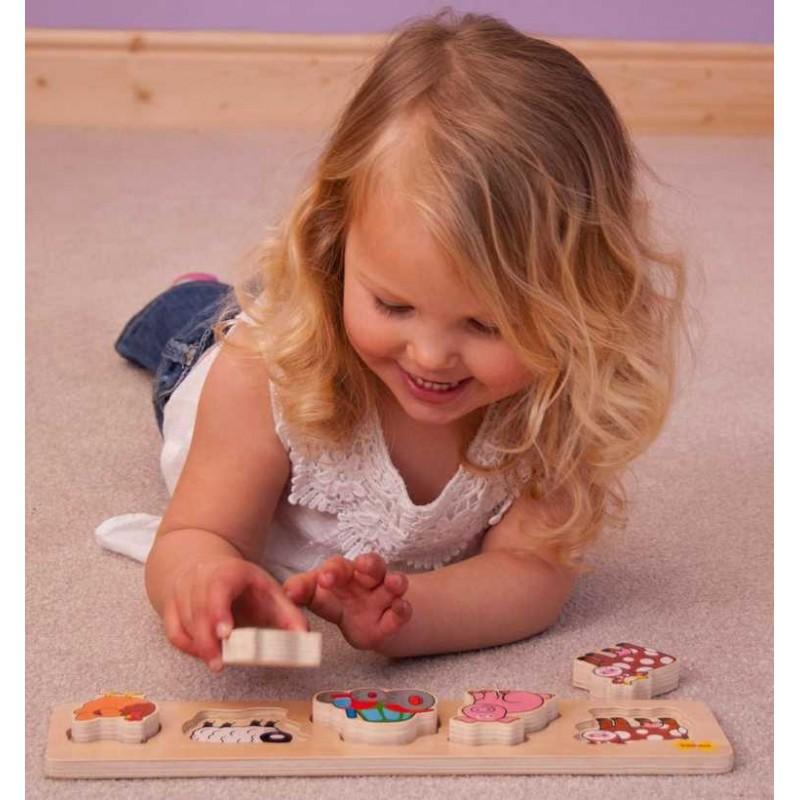 Bigjigs Baby Dřevěné vkládací puzzle farma