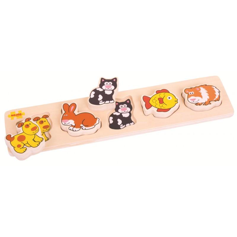 Bigjigs Baby Dřevěné vkládací puzzle domácí zvířata