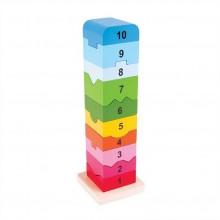 Bigjigs Baby Dřevěná motorická věž s číslicemi
