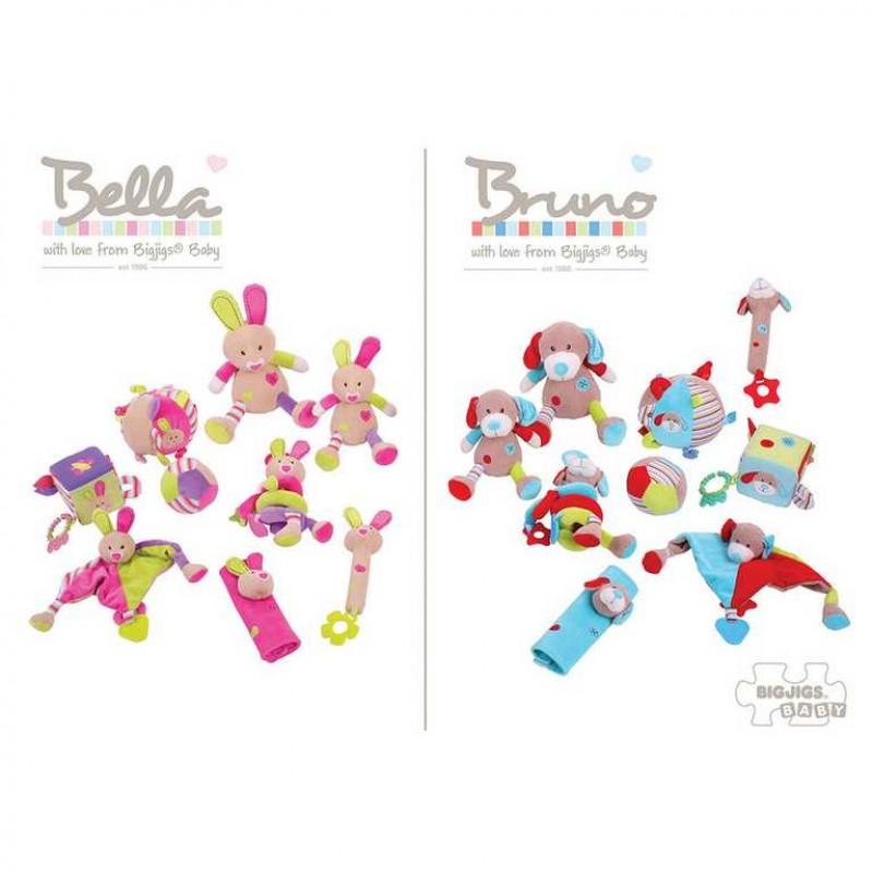 Bigjigs Baby Textilní motorická kostka - Králíček Bella