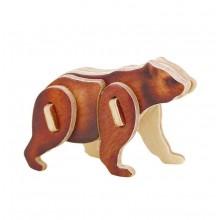 RoboTime Dřevěné střední 3D puzzle medvěd