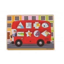 Bigjigs Toys Vkládací puzzle autobus se zvířátky
