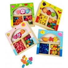 Bigjigs Toys dřevěné navlékací korále v krabičce - malé
