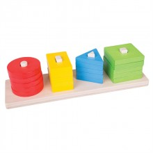 Bigjigs Toys dřevěná motorická třídící deska tvary barvy