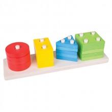 Bigjigs Toys dřevěná motorická třídící deska tvary barvy tyče