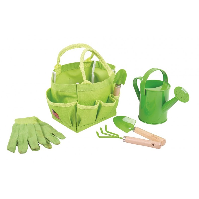 Bigjigs Toys Zahradní set nářadí v plátěné tašce zelený