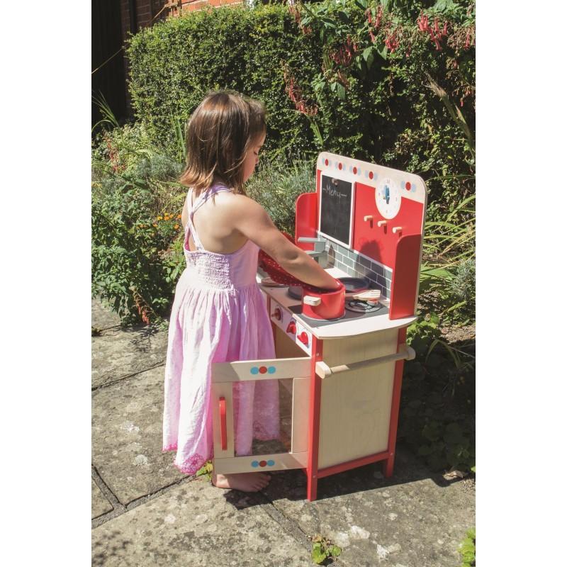Bigjigs Toys Dřevěná dětská kuchyňka červená