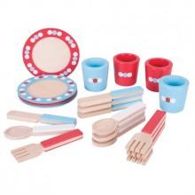 Bigjigs Toys- Dřevěné hračky - Jídelní servis