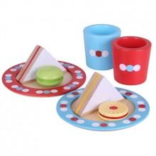 Bigjigs Toys Dřevěné hračky - Set svačinka s puntíky