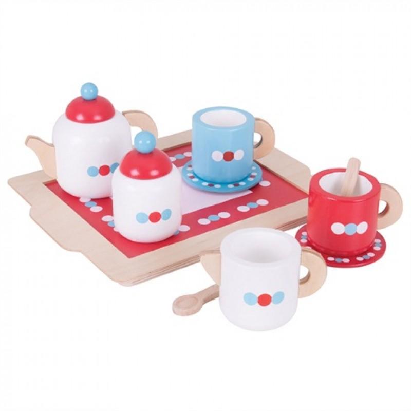 Bigjigs Toys Čajový servis s puntíky