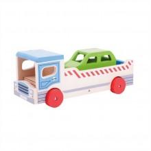 Bigjigs Toys Dřevěné odtahové auto s osobním autem