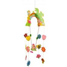Bigjigs Toys Dřevěný závěsný kolotoč Víla s květy