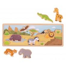 Bigjigs Toys Magnetické puzzle safari