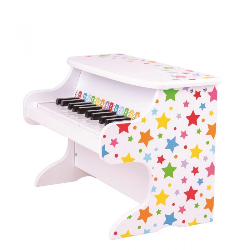 Bigjigs Toys Dřevěný klavír hvězdičky