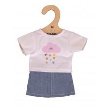 Bigjigs Toys Bílé tričko s riflovou sukní pro panenku 34 cm