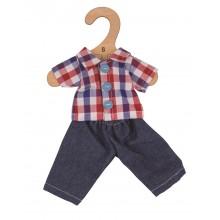 Bigjigs Toys Kostkovaná košile a rifle pro panenku 28 cm