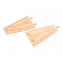 Dřevěné koleje vláčkodráhy Bigjigs - Rovná výhybka - 2ks