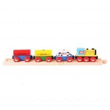 Bigjigs Rail Nákladní vlak s potravinami + 2 koleje