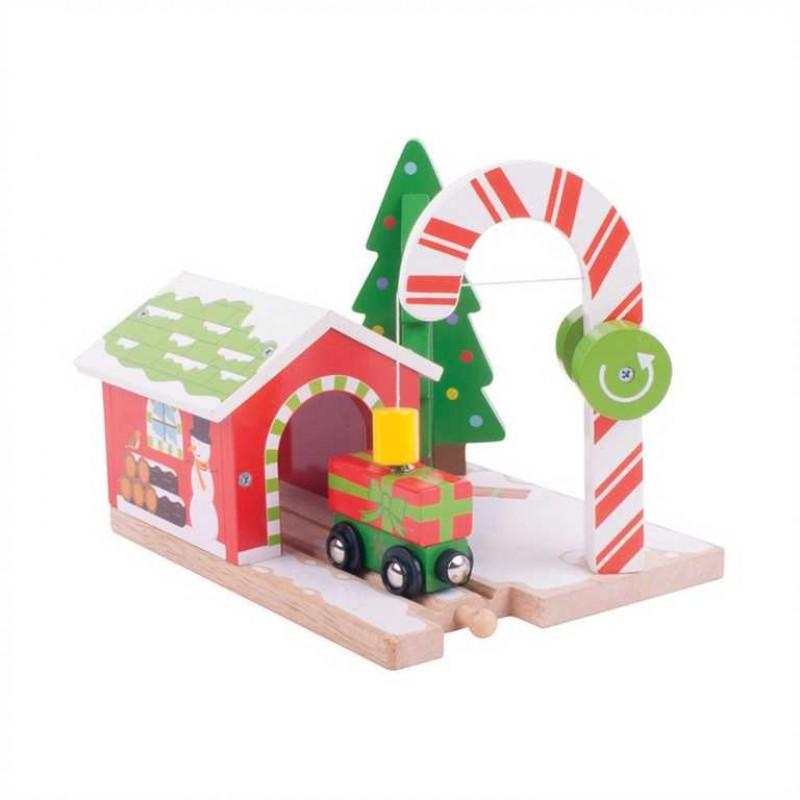 Bigjigs Rail dřevěná vláčkodráha - Vánoční jeřáb