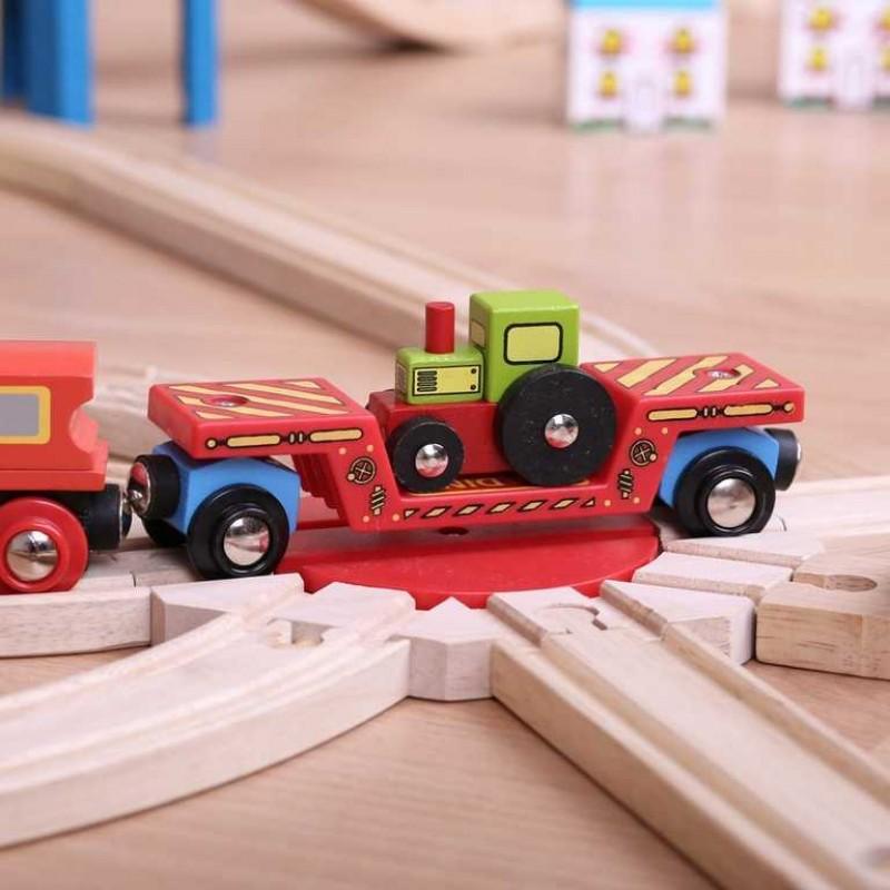 Bigjigs Rail Vagon s traktorem + 2 koleje