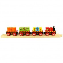 Bigjigs Rail Vláček s nebezpečným nákladem + 2 koleje