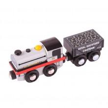 Bigjigs Rall Dřevěná replika lokomotivy Peckett + 2 koleje