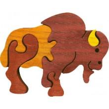 Fauna Dřevěné vkládací puzzle z masivu malý bizon