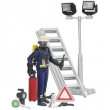 Bruder - Figurka hasič+žebřík+přísl.