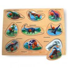 Dřevěné vkládací puzzle dinosauři A