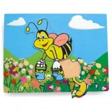 Dřevěné vkládací puzzle včela