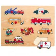 Dřevěné vkládací puzzle dopravní prostředky E
