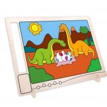 Dřevěná oboustranná omalovánka Dinosauři s vajíčky
