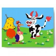 Dřevěné vkládací puzzle kohout a kráva