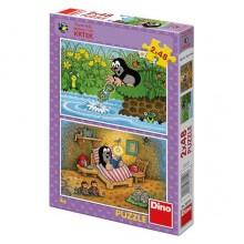 Dino Papírové puzzle Krtek a perla 2x48 dílků