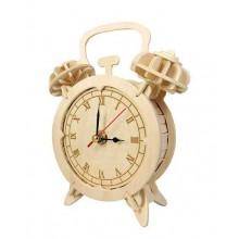 Woodcraft Dřevěné 3D puzzle hodiny budík