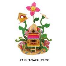 Dřevěné skládačky 3D puzzle - Květinový domeček