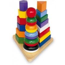 Small Foot Dřevěná skládačka Pyramida 3v1
