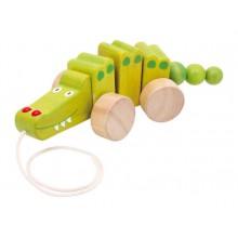 Dřevěné hračky - Dřevěný tahací krokodýl