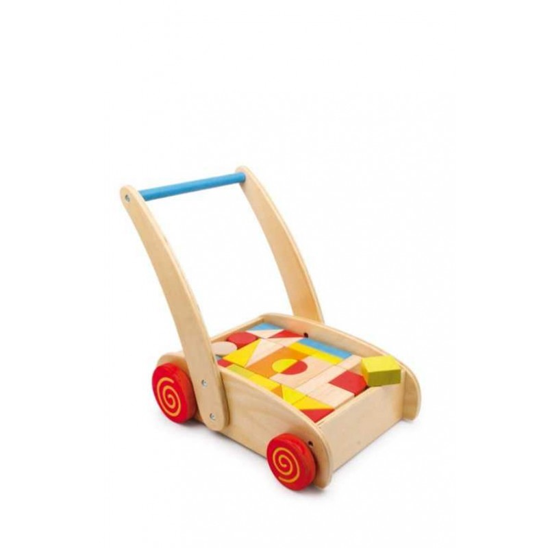 Small Foot Chodítko dřevěné kostky ve vozíku
