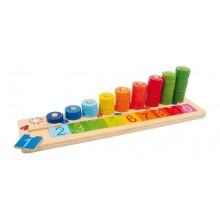 Dřevěná motorická a naučná hra - Počítací deska špalíčky