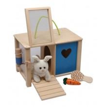 Small Foot Plyšový králík v králíkárně s doplňky