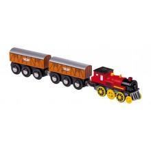 Small Foot Elekrická lokomotiva k vláčkodráze se dvěma vagónky
