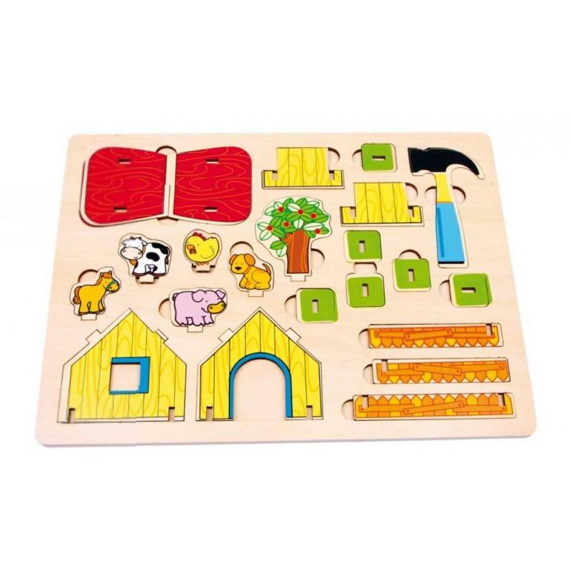 Small Foot Dřevěná farma 3D puzzle