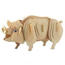 Dřevěné 3D puzzle dřevěná skládačka zvířata - Prase M012