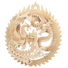 Woodcraft Dřevěné 3D puzzle Fénix a drak