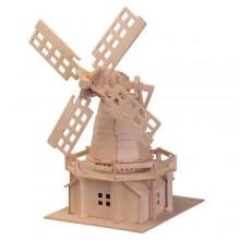 Dřevěné skládačky 3D puzzle slavné budovy - Větrný mlýn P056