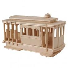 Woodcraft Dřevěné 3D puzzle tramvaj