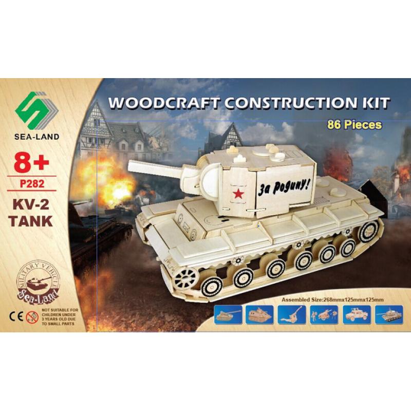 Woodcraft Dřevěné 3D puzzle tank KV 2