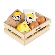 Tidlo Dřevěná bedýnka s mléčnými výrobky a vejci