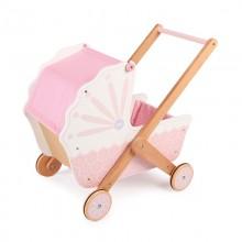 Tidlo Dřevěný kočárek pro panenky růžový